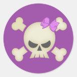 Cute Punk Skull and Bow (purple) Sticker