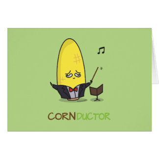 Cute Punny Cartoon Corn Conductor Card