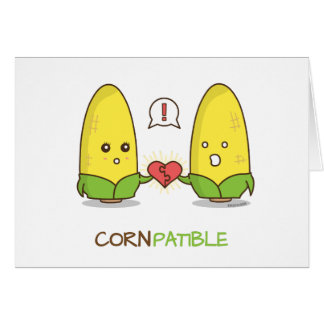 Cute Punny Compatible Corn Couple Gift Card