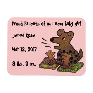 Cute Puppies Birth Announcement Rectangular Photo Magnet