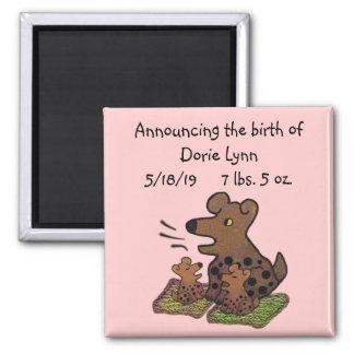 Cute Puppies Birth Announcement Square Magnet
