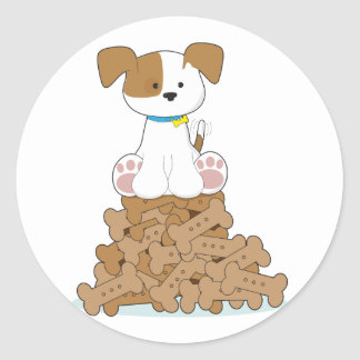 Cute Puppy and Bones Round Sticker
