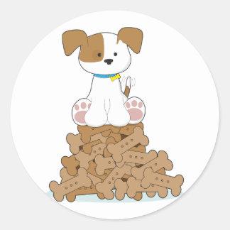 Cute Puppy and Bones Round Sticker