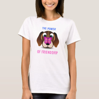Cute Puppy and Butterfly Friendship Ladies T-Shirt