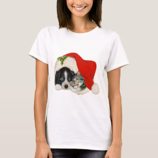 Cute Puppy and Kitten Sleeping in Santa Hat T-Shirt