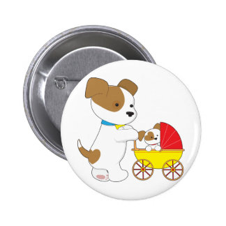 Cute Puppy Baby Carriage 6 Cm Round Badge