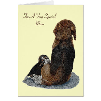 Cute puppy beagle and mum dog verse greeting card