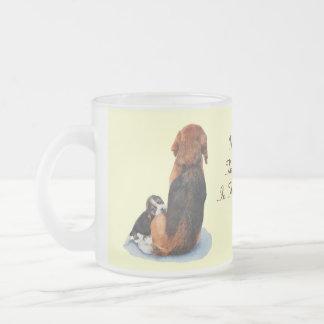 Cute puppy beagle cuddling mum dog realist art frosted glass coffee mug