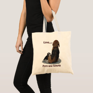 Cute puppy beagle with mom dog original art tote bag