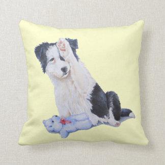 Cute puppy border collie and teddy dog art cushion