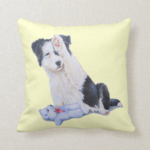 Cute puppy border collie and teddy dog art cushion pillows