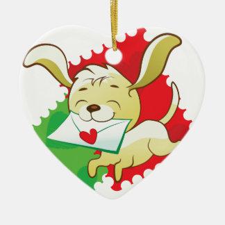 Cute puppy brings love letter ceramic heart decoration