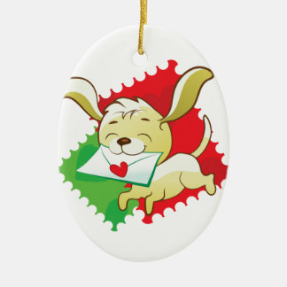 Cute puppy brings love letter ceramic oval decoration