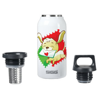 Cute puppy brings love letter on postage stamp 0.3L insulated SIGG thermos water bottle
