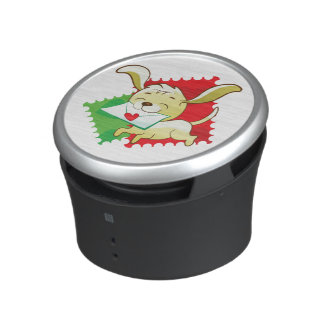 Cute puppy brings love letter on postage stamp bluetooth speaker