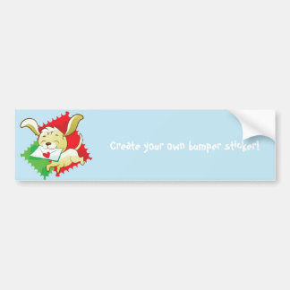 Cute puppy brings love letter on postage stamp bumper sticker