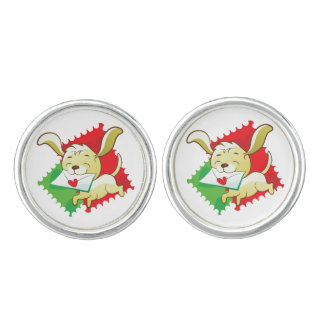 Cute puppy brings love letter on postage stamp cufflinks