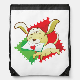 Cute puppy brings love letter on postage stamp drawstring bag
