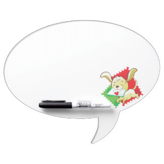 Cute puppy brings love letter on postage stamp Dry-Erase board