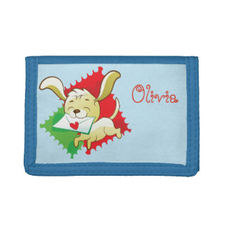 Cute puppy brings love letter on postage stamp tri-fold wallets