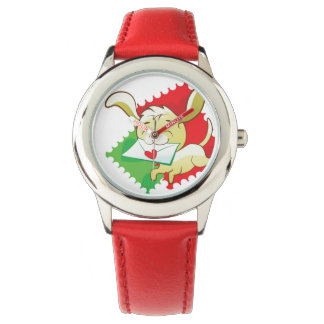 Cute puppy brings love letter on postage stamp wristwatch