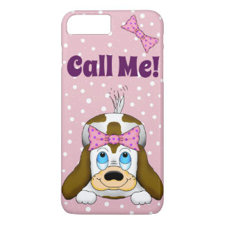 "Cute Puppy ""Call Me"" Cell Phone Case"