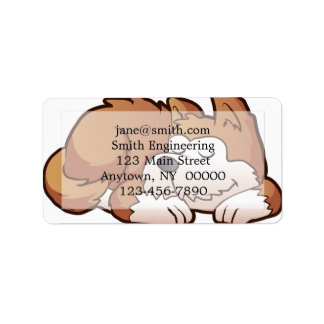 Cute puppy cartoon sleeping address label