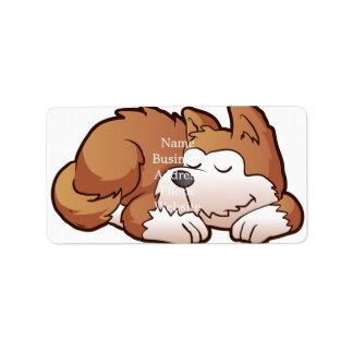 Cute puppy cartoon sleeping address label
