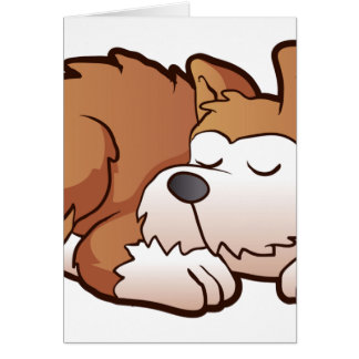 Cute puppy cartoon sleeping card