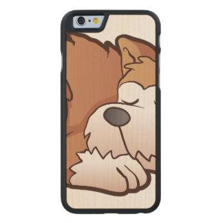 Cute puppy cartoon sleeping carved® maple iPhone 6 slim case
