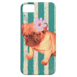 cute puppy daisy green stripes sad pug barely there iPhone 5 case