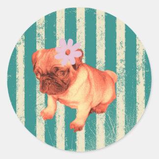 cute puppy daisy green stripes sad pug classic round sticker