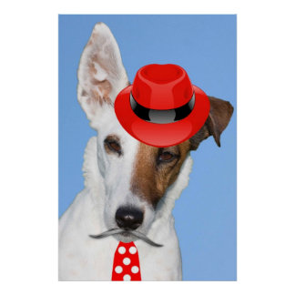 Cute puppy dog fashion red hat tie moustache poster