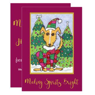 Cute Puppy Dog Making Spirits Bright Holiday Card