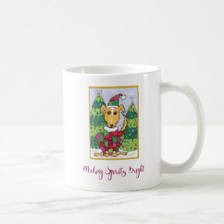 Cute Puppy Dog Making Spirits Bright Holiday Coffee Mug