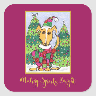 Cute Puppy Dog Making Spirits Bright Holiday Square Sticker