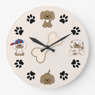 Cute Puppy Dog, Paw Prints and Bone Boys Large Clock