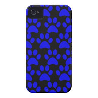 Cute Puppy Dog Paw Prints Blue Black Case-Mate iPhone 4 Cases