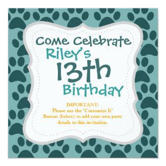 Cute Puppy Dog Paw Prints Blue Gray Dog Lovers 13 Cm X 13 Cm Square Invitation Card