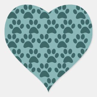 Cute Puppy Dog Paw Prints Blue Gray Dog Lovers Heart Sticker