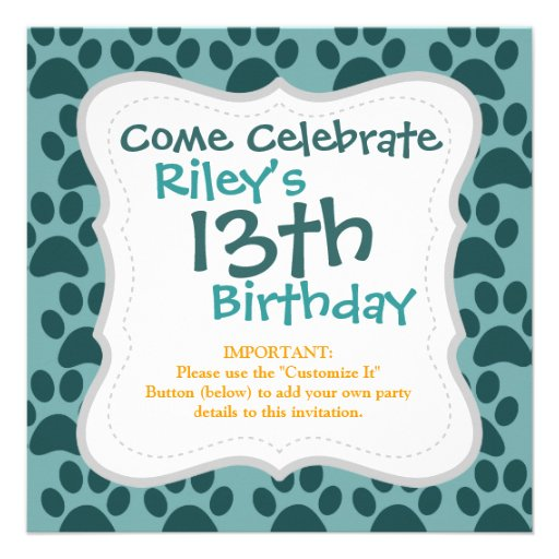Cute Puppy Dog Paw Prints Blue Gray Dog Lovers Invite