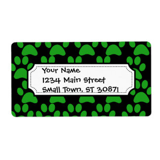 Cute Puppy Dog Paw Prints Green Black Shipping Label