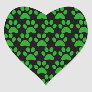 Cute Puppy Dog Paw Prints Green Black Sticker