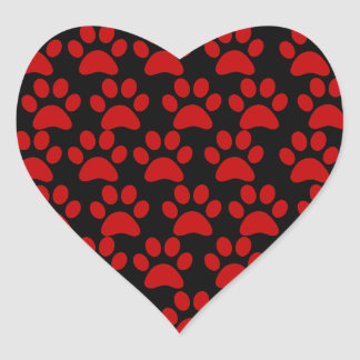 Cute Puppy Dog Paw Prints Red Black Heart Sticker