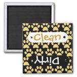 Cute Puppy Dog Paw Prints Tan Black Square Magnet