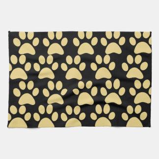 Cute Puppy Dog Paw Prints Tan Black Tea Towel