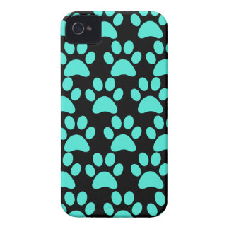 Cute Puppy Dog Paw Prints Teal Blue Black Case-Mate iPhone 4 Cases