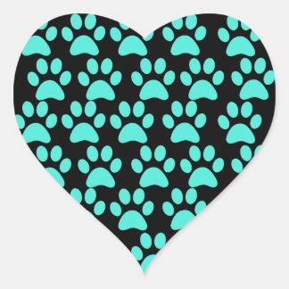 Cute Puppy Dog Paw Prints Teal Blue Black Heart Sticker