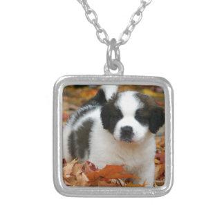 Cute Puppy Dog Pet Saint Bernard Silver Plated Necklace