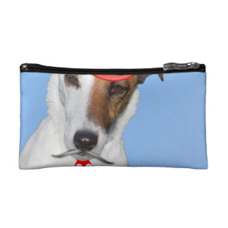 Cute puppy dog red fashion funy moustache tie hat cosmetic bag